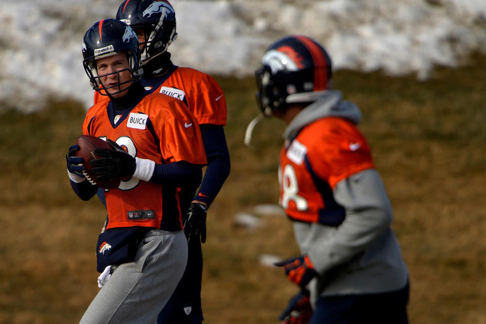 . Quarterback Peyton Manning #18 of the Denver Broncos eyeing wide receiver Demaryius Thomas #88 during practice at Dove Valley in Centennial January 10, 2014 Centennial, Colorado. (Photo by Joe Amon/The Denver Post)