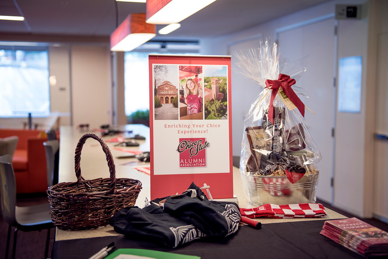 Raffle Prizes are given away at Chico State's Alumni Day at Salesforce West on Thursday, May 10, 2018 in San Francisco, Calif. (Jessica Bartlett /University Photographer/CSU Chico)