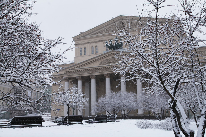 The Bolshoi Theatre under a fresh layer of snow. Moscow, Russian Federation.