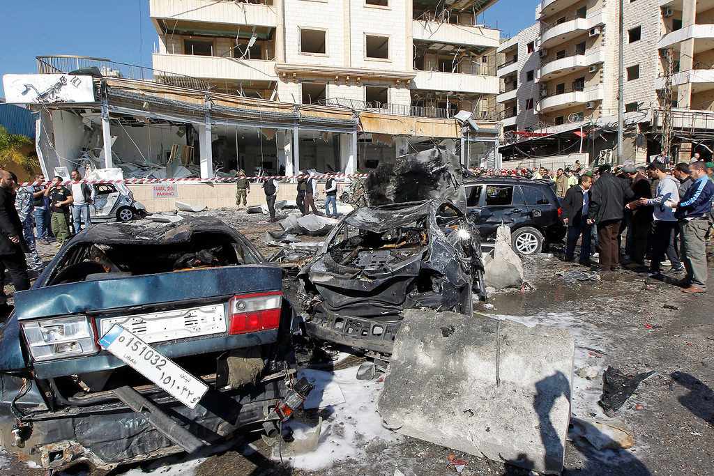 . A general view of the site of explosion near the Kuwaiti Embassy and Iran\'s Chancellery center, in Beir Hassan area at southern suburbs of Beirut, Lebanon, 19 February 2014.  EPA/NABIL MOUNZER