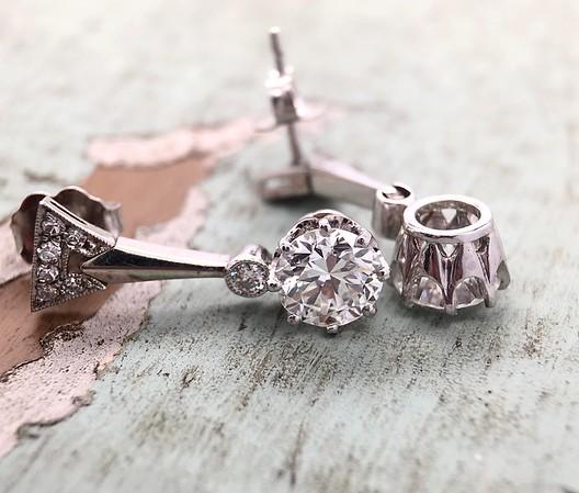 2.50ctw (est.) Art Deco Old European Cut Diamond Earrings