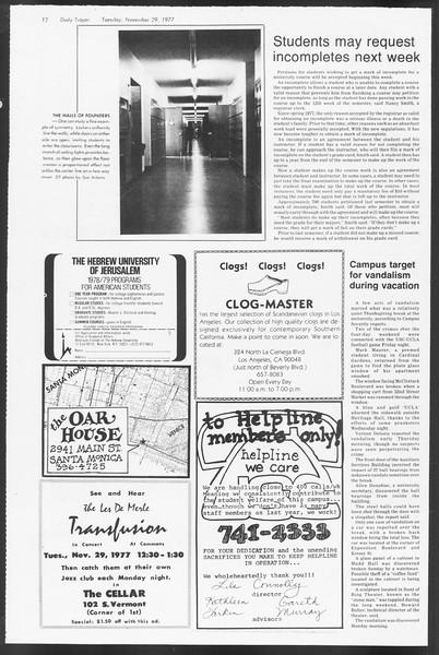 Daily Trojan, Vol. 72, No. 46, November 29, 1977