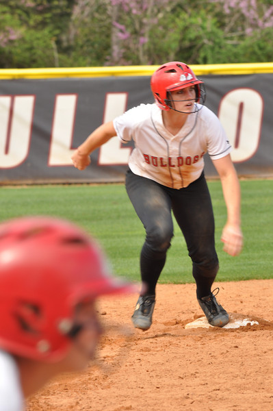 Samantha Meenaghan advances bases against UNC Greensboro on March 22, 2012.