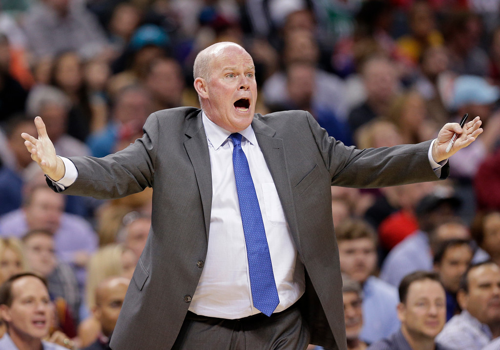 . Charlotte Hornets coach Steve Clifford reacts to a call during the first half of the team\'s NBA basketball game against the Cleveland Cavaliers in Charlotte, N.C., Friday, March 24, 2017. (AP Photo/Chuck Burton)