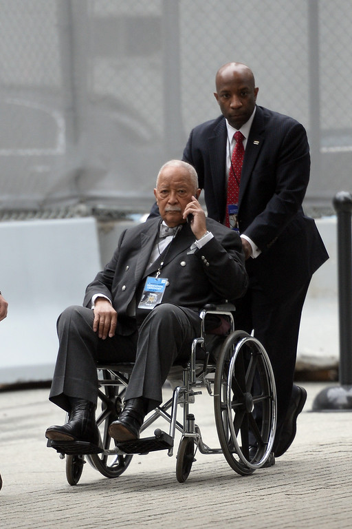 . Former New York City Mayor David Dinkins arrives at the dedication ceremony at the National September 11 Memorial Museum at ground zero May 15, 2014 in New York City. (Photo by Anthony Behar-Pool/Getty Images)