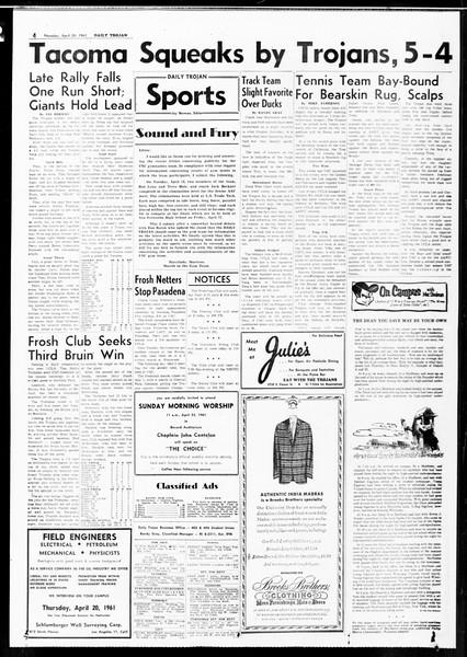 Daily Trojan, Vol. 52, No. 109, April 20, 1961