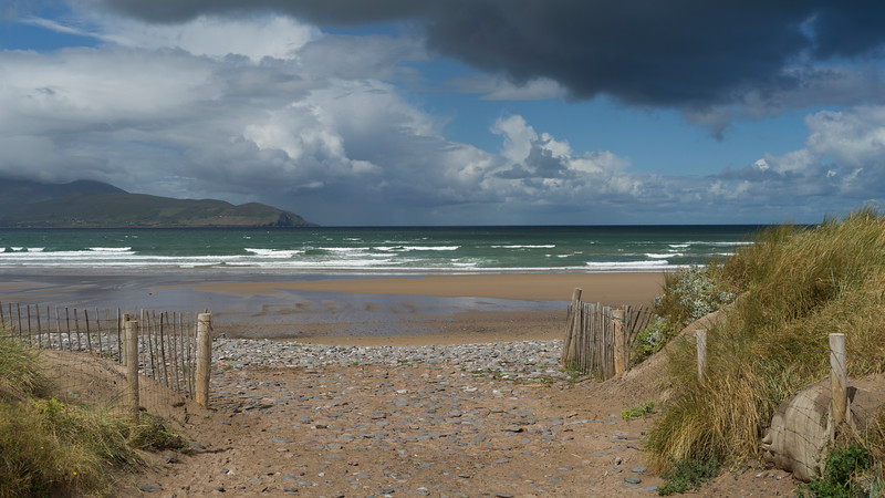View of beach and Brandon Bay in County Kerry, Ireland