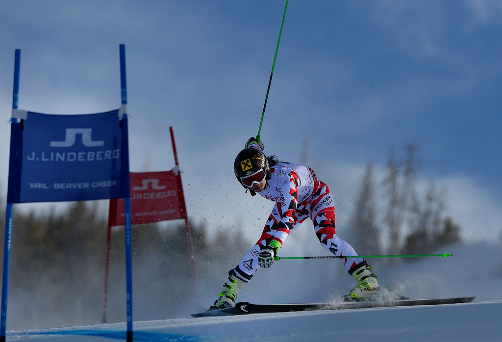 . BEAVER CREEK, CO - FEBRUARY 12: Despite losing her balance Anna Fenninger of Austria was able to hang on to the lead and win the Ladies Giant Slalom event at the FIS Alpine World Ski Championships in Beaver Creek, CO. February 12, 2015. (Photo By Helen H. Richardson/The Denver Post)