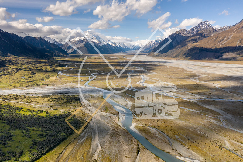 Aerial image showing the Tasman River, an alpine braided river flowing through Canterbury, in New Zealand's South Island.
