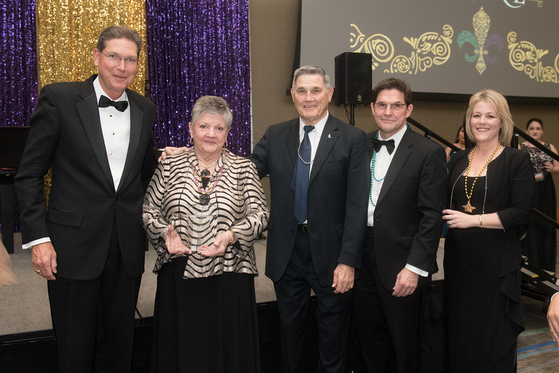 Philip Skrobarczyk, Vanessa Braselton, Fred Braselton, Bart Braselton, and Kelly Quintanilla. Saturday February 25, 2017 at TAMU-CC during the annual President's Mardi Gras Ball.