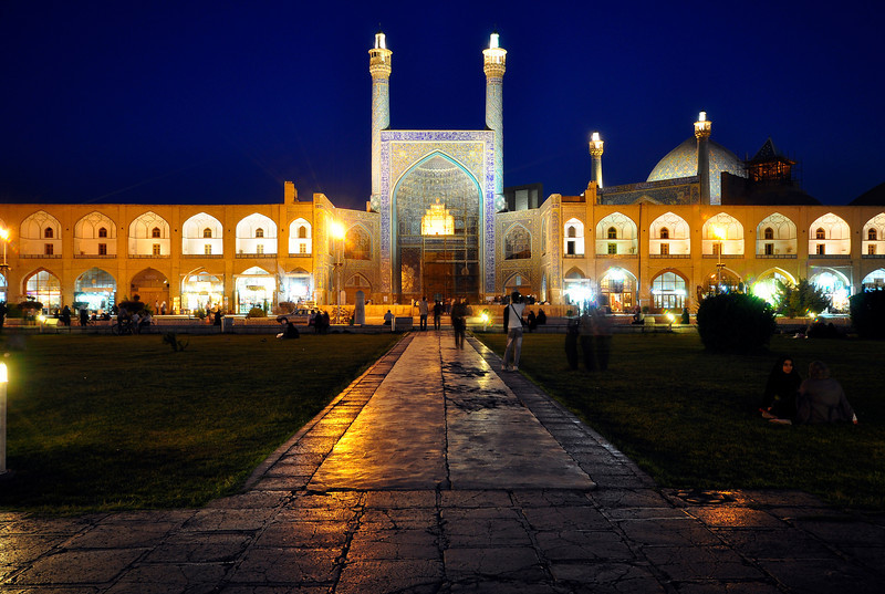 Jameh Mosque of Isfahan at night, Isfahan, Iran.