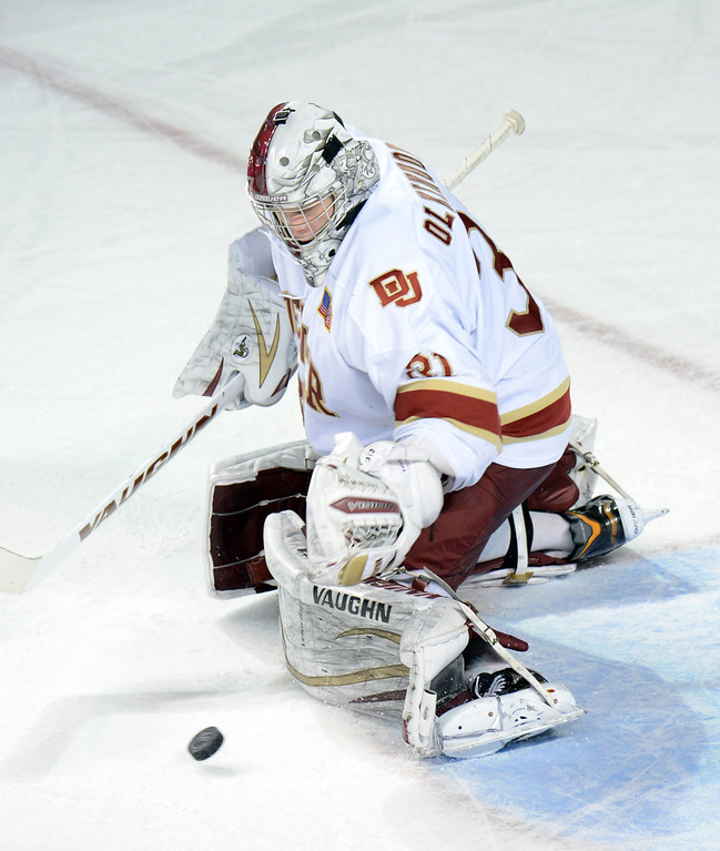 . DENVER, CO. - FEBRUARY 08: Juho Olkinuora of University of Denver is in action during the game against Colorado College  February 8, 2013 at Magness Arena in Denver, Colorado. The game was over 1-1 in OT. (Photo By Hyoung Chang/The Denver Post)