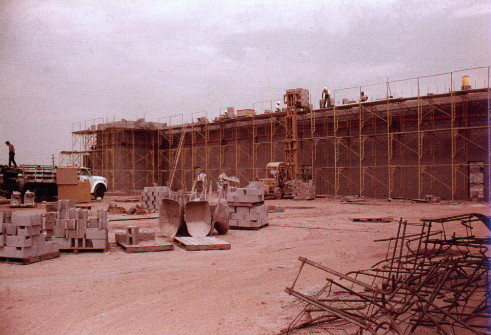 Description of . Photo of the Redlands Mall under construction, taken in July of 1976. City of Redlands Collection
