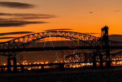 Jersey City, NJ - December 26:  Sunset over the Hackensack River, Jersey City, USA