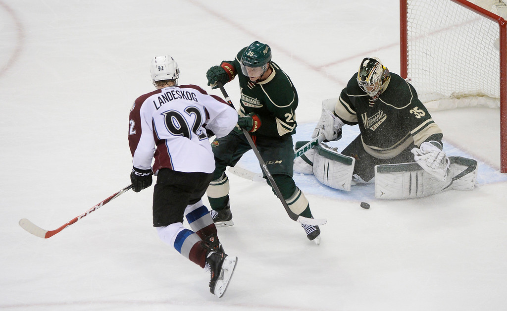 . Colorado wing Gabriel Landeskog (92) put a shot on net late in the third period. The Minnesota Wild hosted the Colorado Avalanche at the Xcel Energy Center in St. Paul Monday night, April 21, 2014. (Photo by Karl Gehring/The Denver Post)