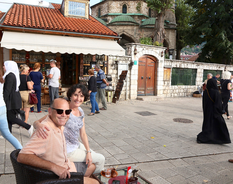 Enjoying a traditional Bosnian coffee at the Old Town's main square - Baščaršija