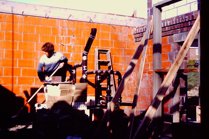 Building the Student Center, 1979 (several shots following)