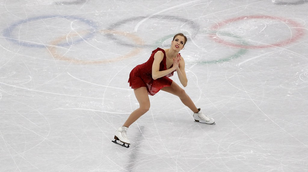 . Carolina Kostner, of Italy performs in the ladies single figure skating short program in the Gangneung Ice Arena at the 2018 Winter Olympics in Gangneung, South Korea, Sunday, Feb. 11, 2018. (AP Photo/David J. Phillip)