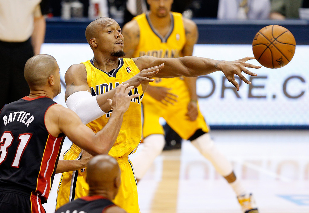. INDIANAPOLIS, IN - MAY 20: David West #21 of the Indiana Pacers passes against the Miami Heat during Game Two of the Eastern Conference Finals of the 2014 NBA Playoffs at at Bankers Life Fieldhouse on May 20, 2014 in Indianapolis, Indiana.   (Photo by Joe Robbins/Getty Images)