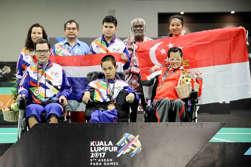 PARA BOCCIA - Boccia Individual BC3 - TeamSG Toh Sze Ning with competition partner Chew Zi Qun and with team thailand. She got the bronze medal at Hall 6, Mitec on 22nd Sep 2017. (Photo by Sanketa Anand)