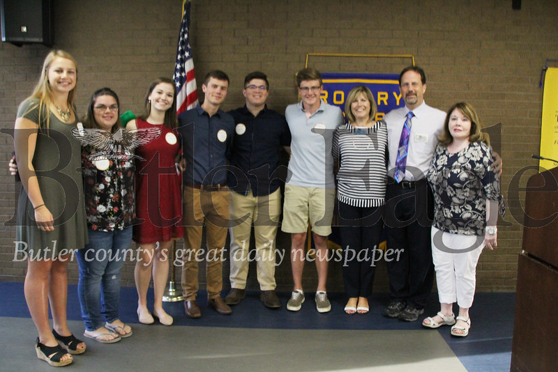 """From left to right: Eliza Drohan, Lucy Panian, Alison Cammisa, Jordan Surkosky, Hunter Hartley, Zachary Callithen, Joyce Cully, Butler A.M Rotary – President, Dr. Stuart Surkosky, RYLA Liaison and Ms. Candy Hartley, RYLA Liaison pose for a picture after the six students gave speeches on their experience during the RYLA Leadership Camp, Tuesday, at the Butler YMCA."""