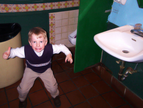2006 retouching of Joshua in restrooms of local Mexican restaurant, January 7th 2001.  Original post follows.