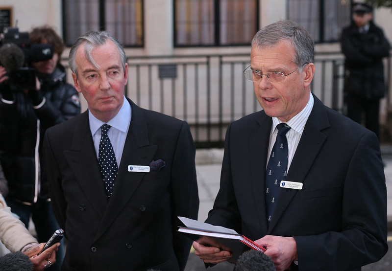 . King Edward VII hospital chief executive John Lofthouse (R) standing next to the hospital\'s chairman Simon Arthur (L) speaks to the media outside the hospital in London on December 7, 2012 after nurse Jacintha Saldanha was found dead at a property close by. A nurse at the hospital which treated Prince William\'s pregnant wife Catherine, Duchess of Cambridge, was found dead on December 7, days after being duped by a hoax call from an Australian radio station, the hospital said. Police said they were treating the death, which happened at a property near the hospital, as unexplained.  CARL COURT/AFP/Getty Images