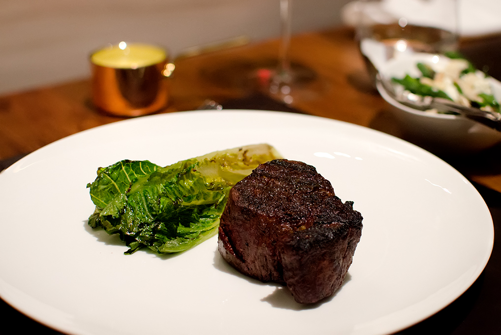 Eye fillet with charred baby gem lettuce - Landscape