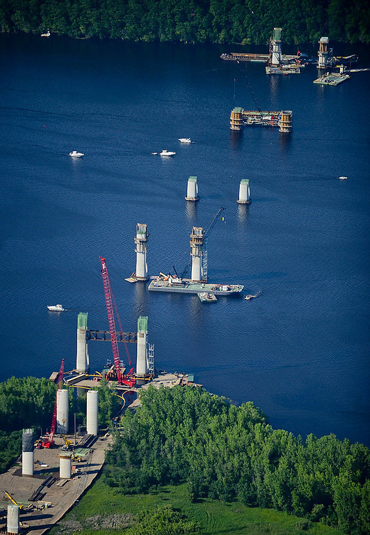 . Construction on the new St. Croix Crossing bridge connecting Oak Park Heights to St. Joseph, Wis. over the St. Croix River. (Pioneer Press: Ben Garvin)