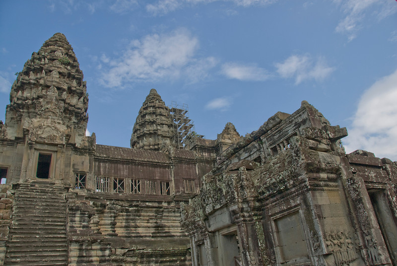 Towers of Angkor Wat against beautiful, blue sky in Cambodia