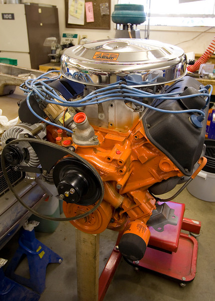 """Here's the """"elephant"""" 426 Hemi engine, numbers matched to the Coronet it will be going into.  Click here to hear it at 6200 RPM putting out 522.2 horsepower on a dyno pull!   It is completely stock with NO modifications.  Cly is wondering how fast his Deathmobile would go if he could get this in it..."""