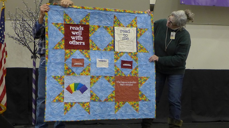 Kely Sattler made this quilt for Americal Library Associations.  The blocks were made by members and the completed top was sent to Kelly.  She did the quilting.