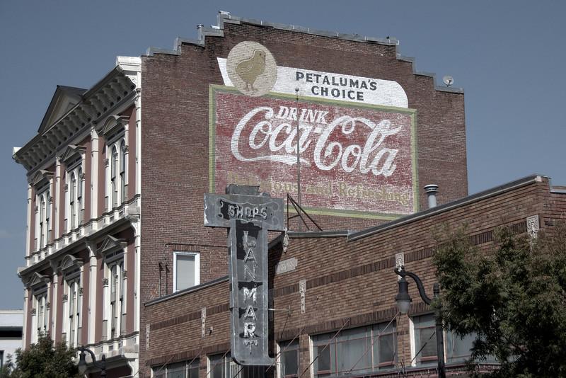 Coca-Cola advertisement on the Mutual Relief Building in downtown Petaluma, Sonoma County, California