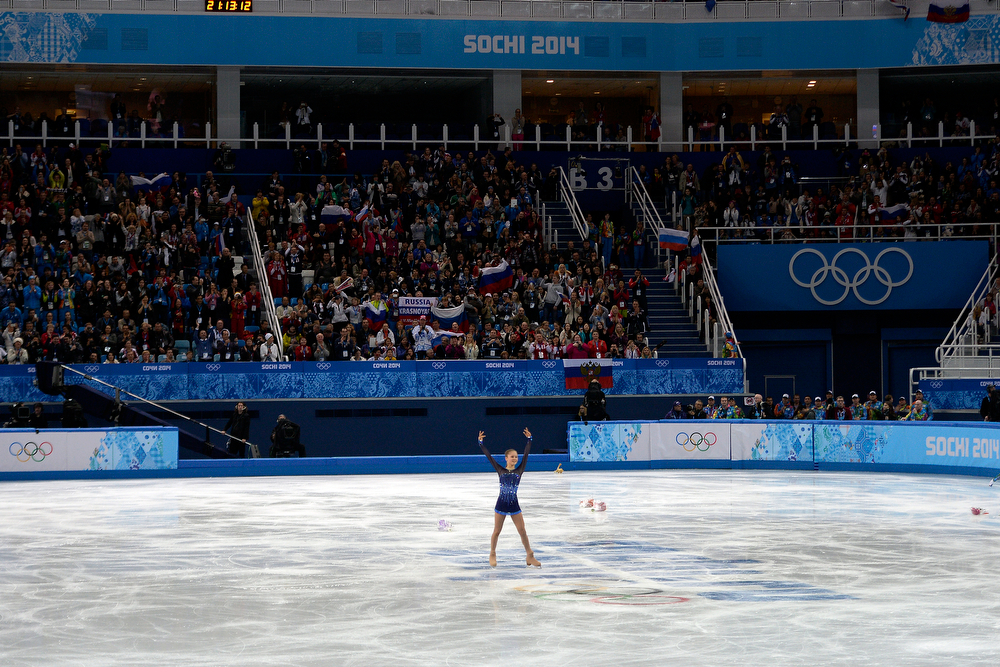 . Russia\'s Yulia Lipnitskaya plays to the crowd after she turned in a 72.90 to finish first in the ladies short program during team figure skating. Sochi 2014 Winter Olympics on Saturday, February 8, 2014. (Photo by AAron Ontiveroz/The Denver Post)