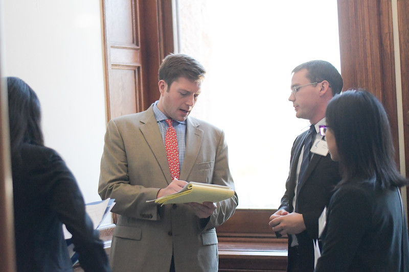 Charles Curry speaks to Horton Reed during TAMU-CC's visit to the State Capitol.