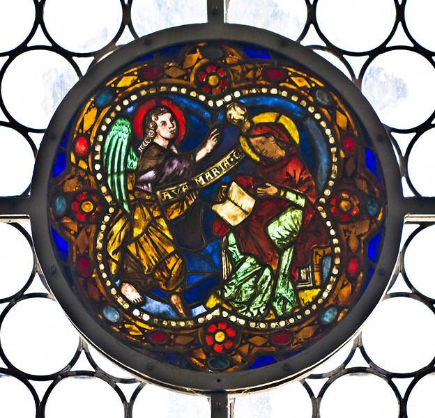 Merseburg, Dom, Vorhalle, Glasfenster-Medaillons, Verjündigung (um 1260)