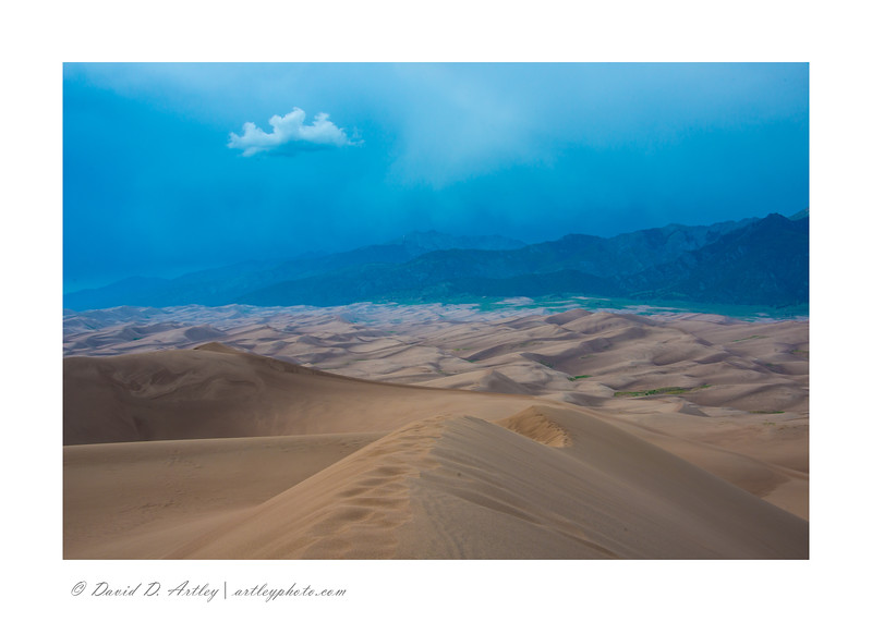 Summer rainstorm from High Dune, Great Sand Dunes National Park, CO
