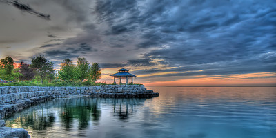 St Lawrence Park Gazebo, in the sublime colours of dawn, Port Credit, Ontario