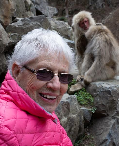 My Mom at Jigokudani Monkey Park in Japan
