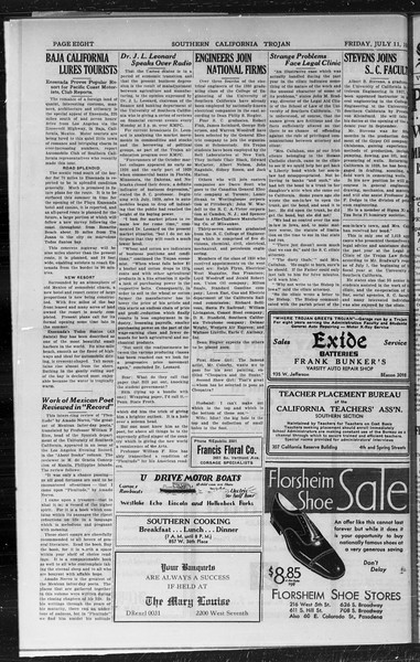 Southern California Trojan, Vol. 9, No. 4, July 11, 1930