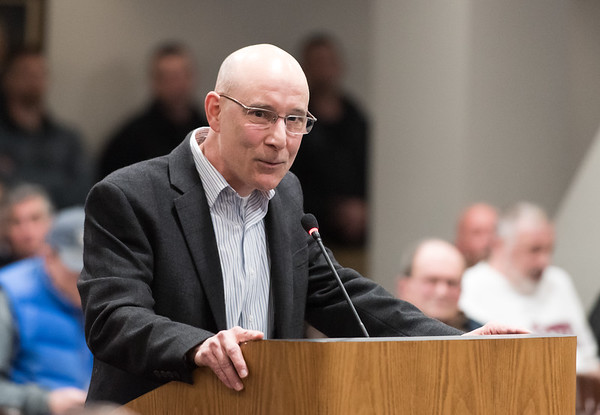 03/27/19 Wesley Bunnell | Staff Former Police Chief James Wardwell speaks in favor of Acting Police Chief Christopher Chute.