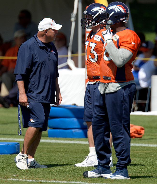 . Denver Broncos offensive line coach Dave Magazu talks with Denver Broncos guard Chris Kuper (73) and Denver Broncos tackle Ryan Clady (78) during practice August 19, 2013 at Dove Valley (Photo by John Leyba/The Denver Post)