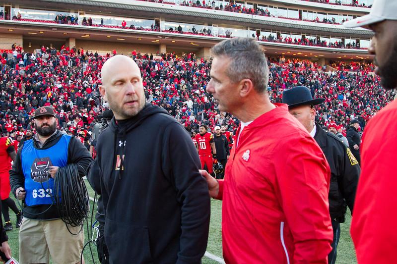 Maryland interim head coach Matt Canada and Ohio State head coach Urban Meyer speak after the game.
