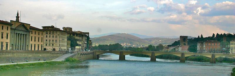 Tuscan hills and River Arno- Florence