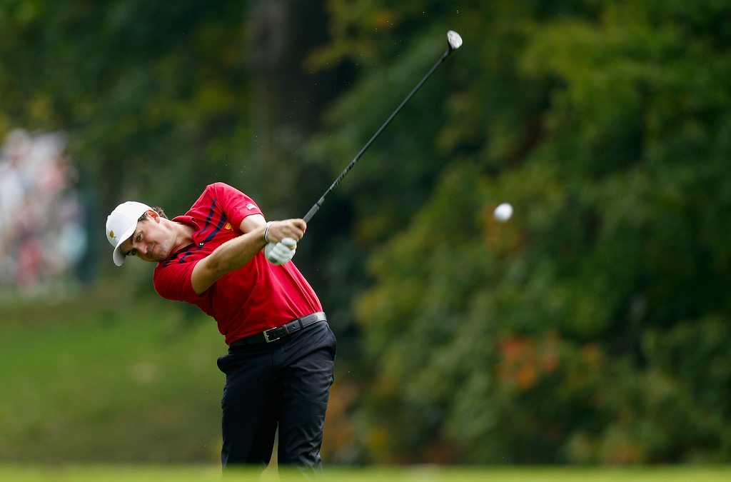 . DUBLIN, OH - OCTOBER 05:  Keegan Bradley of the U.S. Team hits a shot from the 15th fairway during the Day Three Four-ball Matches at the Muirfield Village Golf Club on October 5, 2013  in Dublin, Ohio.  (Photo by Gregory Shamus/Getty Images)