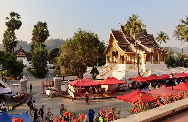 Royal Palace (on the left) and Wat Haw Pha Bang - Luang Prabang, Laos