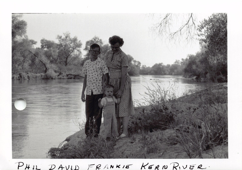 Phil, David, Frankie at Kern River 4/19/1956