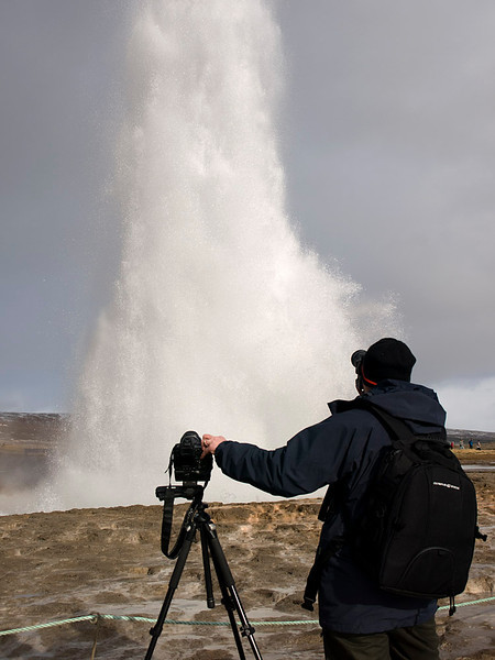 The fantastic huge geysers at Geysir and Strokkur. The Strokkur erupts every 5-10mins. Some explosions fill the sky whilst others rumble up much quiter. Fascinating to see the energy thrown up from these hot springs. Me capturing the event. Olympus E510, 14-42mm.