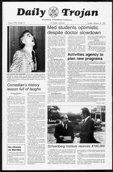 Daily Trojan, Vol. 68, No. 71, February 10, 1976