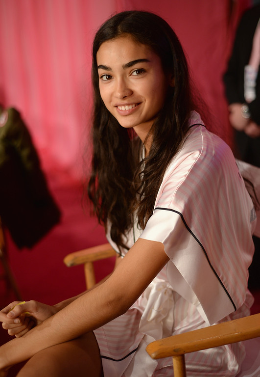 . Model Kelly Gale prepares at the 2013 Victoria\'s Secret Fashion Show hair and make-up room at Lexington Avenue Armory on November 13, 2013 in New York City.  (Photo by Dimitrios Kambouris/Getty Images for Victoria\'s Secret)